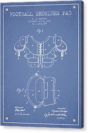 1924 Football Shoulder Pad Patent - Light Blue Acrylic Print