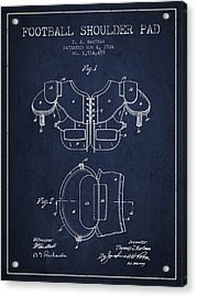 1924 Football Shoulder Pad Patent - Navy Blue Acrylic Print by Aged Pixel