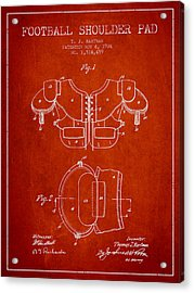 1924 Football Shoulder Pad Patent - Red Acrylic Print by Aged Pixel