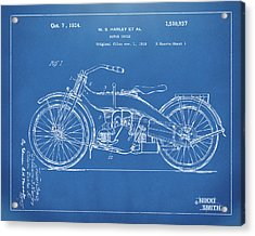 Acrylic Print featuring the digital art 1924 Harley Motorcycle Patent Artwork Blueprint by Nikki Marie Smith