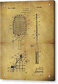 1925 Tennis Racket Patent Acrylic Print