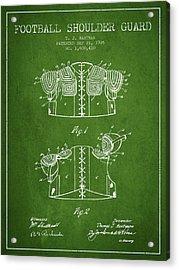 1926 Football Shoulder Guard Patent - Green Acrylic Print