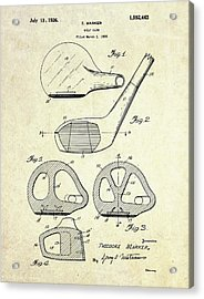 1926 Golf Club Patent Art Acrylic Print by Gary Bodnar