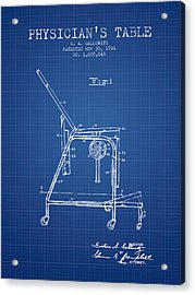 1926 Physicians Table Patent - Blueprint Acrylic Print by Aged Pixel