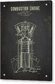 1927 Compustion Engine Patent - Dark Grunge Acrylic Print by Aged Pixel