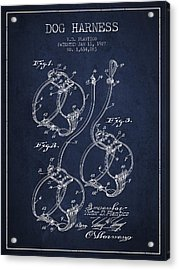 1927 Dog Harness Patent - Navy Blue Acrylic Print