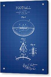 1927 Football Patent - Blueprint Acrylic Print