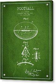 1927 Football Patent - Green Acrylic Print