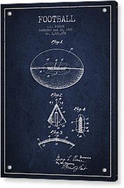 1927 Football Patent - Navy Blue Acrylic Print by Aged Pixel