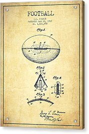 1927 Football Patent - Vintage Acrylic Print by Aged Pixel