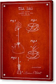 1928 Tea Bag Patent - Red Acrylic Print