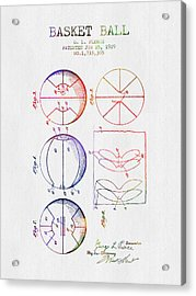 1929 Basket Ball Patent - Color Acrylic Print