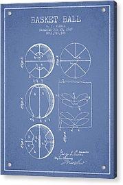 1929 Basket Ball Patent - Light Blue Acrylic Print by Aged Pixel