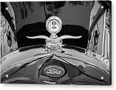 Acrylic Print featuring the photograph 1929 Ford Model A Hood Ornament Bw by Rich Franco