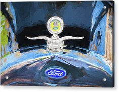 Acrylic Print featuring the photograph 1929 Ford Model A Hood Ornament Painted by Rich Franco