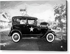 Acrylic Print featuring the photograph 1929 Ford Model A Tudor Police Sedan Bw by Rich Franco