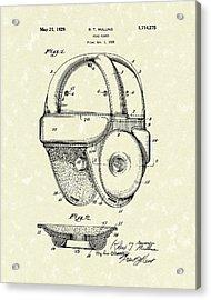 1929 Patent Art Vintage Helmet Acrylic Print by Prior Art Design