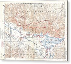 1929 Usgs Map Of Grand Teton National Park Wyoming  Acrylic Print