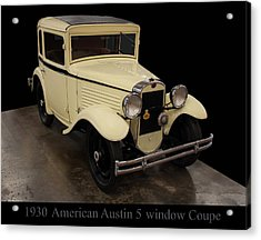 Acrylic Print featuring the digital art 1930 American Austin 5 Window Coupe by Chris Flees