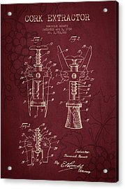 1930 Cork Extractor Patent - Red Wine Acrylic Print by Aged Pixel