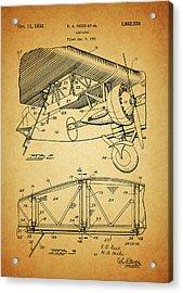1932 Airplane Patent Acrylic Print