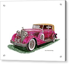 Acrylic Print featuring the painting 1932 Cadillac All Weather Phaeton V 16 by Jack Pumphrey