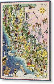 1932 Caricature Map Of California Acrylic Print