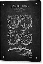 1932 Soccer Ball Patent Drawing - Charcoal - Nb Acrylic Print by Aged Pixel