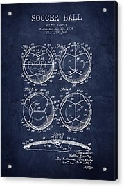 1932 Soccer Ball Patent Drawing - Navy Blue - Nb Acrylic Print by Aged Pixel