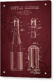 1933 Bottle Closure Patent - Red Wine Acrylic Print by Aged Pixel