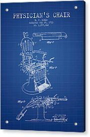 1933 Physicians Chair Patent - Blueprint Acrylic Print by Aged Pixel