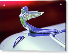 Acrylic Print featuring the photograph 1933 Plymouth Hood Ornament -0121rc by Jill Reger