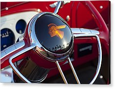 1933 Pontiac Steering Wheel Acrylic Print by Jill Reger