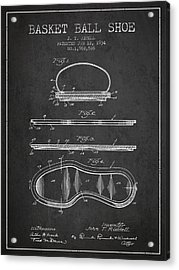 1934 Basket Ball Shoe Patent - Charcoal Acrylic Print by Aged Pixel
