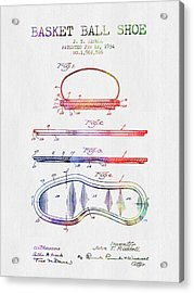 1934 Basket Ball Shoe Patent - Color Acrylic Print by Aged Pixel