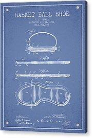 1934 Basket Ball Shoe Patent - Light Blue Acrylic Print by Aged Pixel