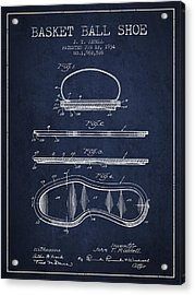 1934 Basket Ball Shoe Patent - Navy Blue Acrylic Print by Aged Pixel