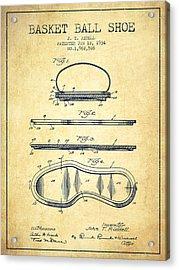 1934 Basket Ball Shoe Patent - Vintage Acrylic Print by Aged Pixel