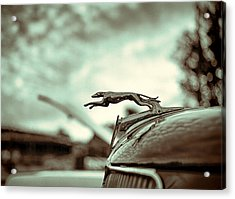 1934 Ford Hood Ornament Acrylic Print by Jon Woodhams