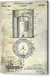 1935 Beer Equipment Patent  Acrylic Print by Jon Neidert