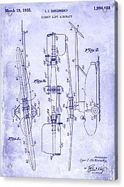 1935 Helicopter Patent Blueprint Acrylic Print