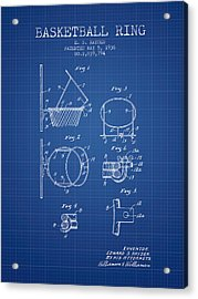 1936 Basketball Ring Patent - Blueprint Acrylic Print by Aged Pixel