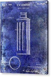 1936 Beer Can Patent Blue Acrylic Print