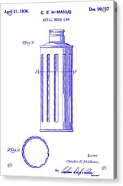 1936 Beer Can Patent Blueprint Acrylic Print