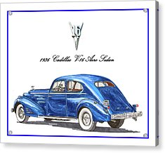 Acrylic Print featuring the painting 1936 Cadillac V-16 Aero Coupe by Jack Pumphrey