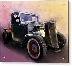 1936 Chevy Rat Rod Pickup Watercolour Acrylic Print