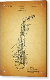 1936 Saxophone Patent Acrylic Print by Dan Sproul