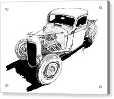 1937 Chevy Bobber Truck Hot Rod Ink Dwg Acrylic Print