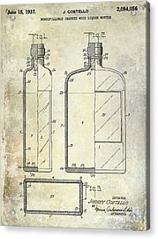 1937 Liquor Bottle Patent  Acrylic Print