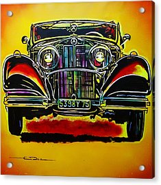 Acrylic Print featuring the painting 1937 Mercedes Benz First Wheel Down by Eric Dee